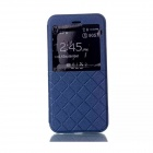 "Grid Pattern PU Leather Case w/ View Window for IPHONE 6 4.7"" - Blue"