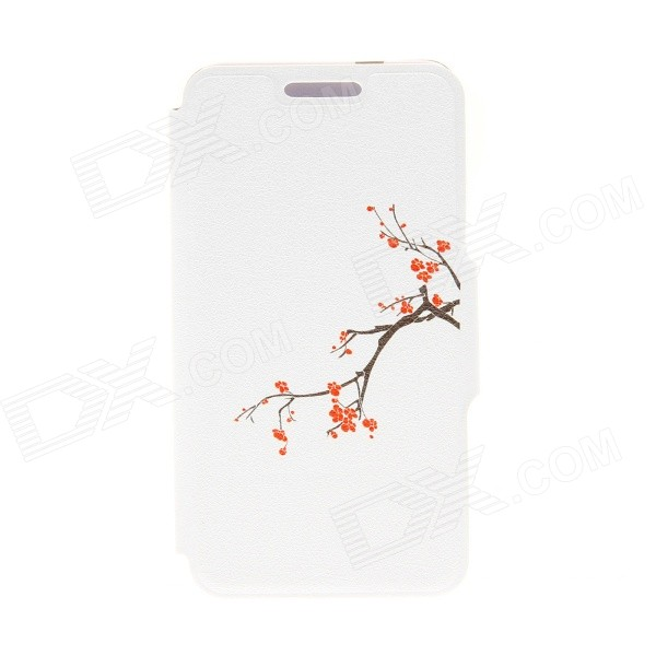 Kinston Plum Blossom Pattern PU Leather Full Body Case with Stand for IPHONE 6 4.7 inch kinston i love you patterned pu leather full body case w stand for motorola moto g black red