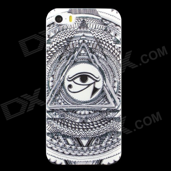 Ultra-thin Embossed Protective TPU Back Case for IPHONE 5 / 5S - Black + White ultra thin protective tpu matte back case for iphone 5 iphone 5s white