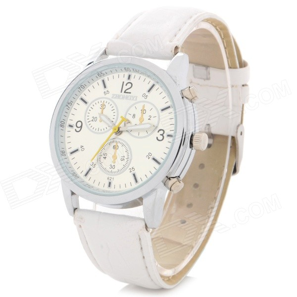 Zhongyi Fashion PU Band Analog Quartz Wrist Watch - White + Silver (1 x 626)