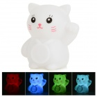 Creative Stylish Lucky Cat Shaped 5W 50lm LED RGB Light Mini Night Lamp - White (3 x AG13)