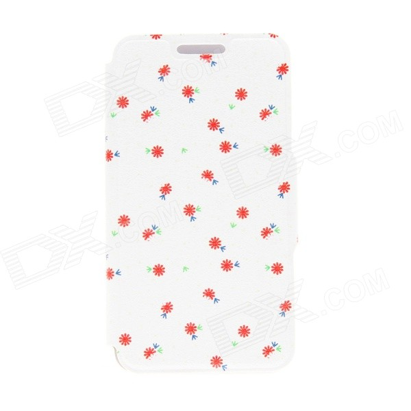 Kinston Romantic Flower Pattern PU Leather Full Body Case w/ Stand for IPHONE 6 4.7 - White + Red kinston kst91734 ocean of hearts pattern pu leather full body case w stand for 4 7 iphone 6 red
