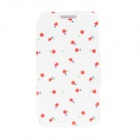 "Kinston Romantic Flower Pattern PU Leather Full Body Case w/ Stand for IPHONE 6 4.7"" - White + Red"