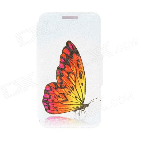 "Kinston KST91735 Butterfly Patterned PU Leather Full Body Case w/ Stand for 4.7"" IPHONE 6 - Yellow"