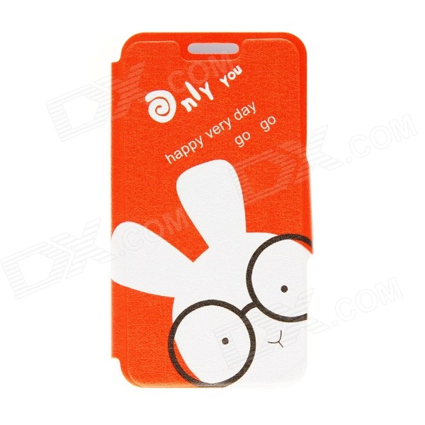 Kinston Glasses Rabbit Pattern PU Leather Full Body Case w/ Stand for IPHONE 6 4.7 - White + Orange