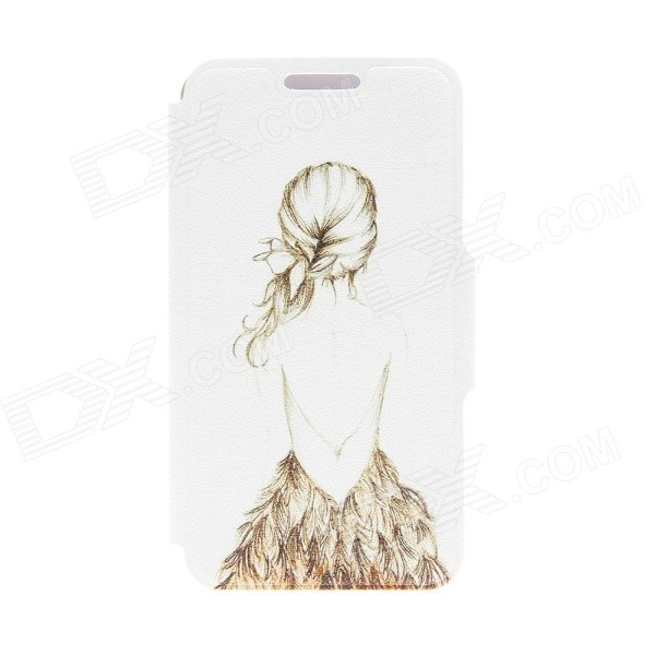 Kinston Art Figure Pattern PU Leather Full Body Case w/ Stand for IPHONE 6 4.7 - White + Grey