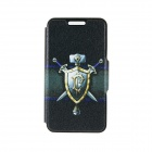 "Kinston KST91750 Shield / Sword Pattern Leather Case w/ Stand for IPHONE 6 4.7"" - Black + Golden"