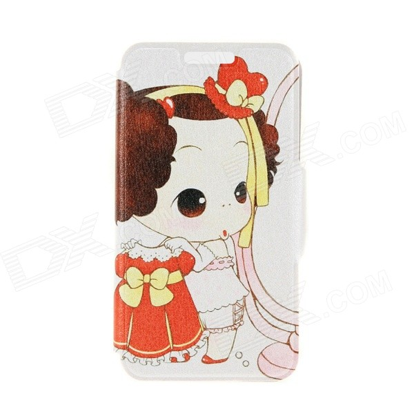 Kinston KST91739 Beauty Girl Pattern PU Leather Full Body Case w/ Stand for 4.7 IPHONE 6 - Orange ipega i5056 waterproof protective case for iphone 5 5s 5c pink