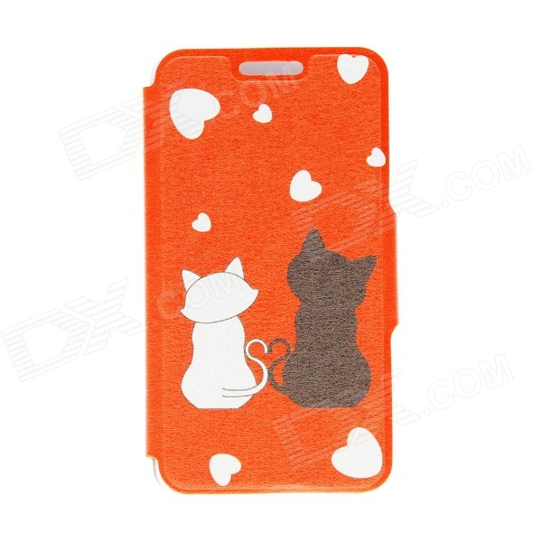 "Kinston Romantic Cat Pattern PU Leather + Plastic Flip Open Case for 4.7"" IPHONE 6 - Orange + Black"