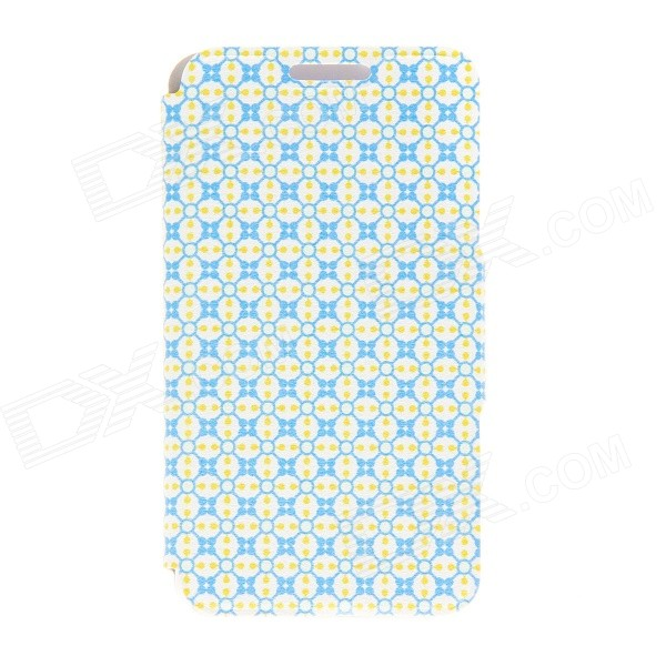 Kinston Beaded Lattice Pattern PU Leather + Plastic Flip Open Case for IPHONE 6 4.7 - Blue + Yellow kinston flowers pattern pu leather cover case for iphone 6 4 7 orange yellow