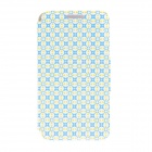 "Kinston Beaded Lattice Pattern PU Leather + Plastic Flip Open Case for IPHONE 6 4.7"" - Blue + Yellow"