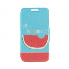 "Kinston KST91746 Watermelon Pattern PU Leather Full Body Case w/ Stand for 4.7"" IPHONE 6 - Blue"