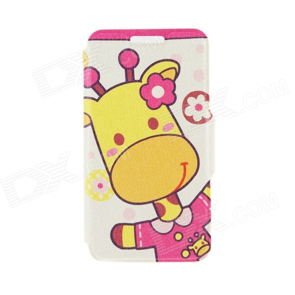 Kinston KST91747 Giraffe w/ Flower Pattern Leather Case w/ Stand for 4.7 IPHONE 6 - Multicolored kinston flower bloom pattern pu leather full body case w stand for iphone 6 4 7 multicolored