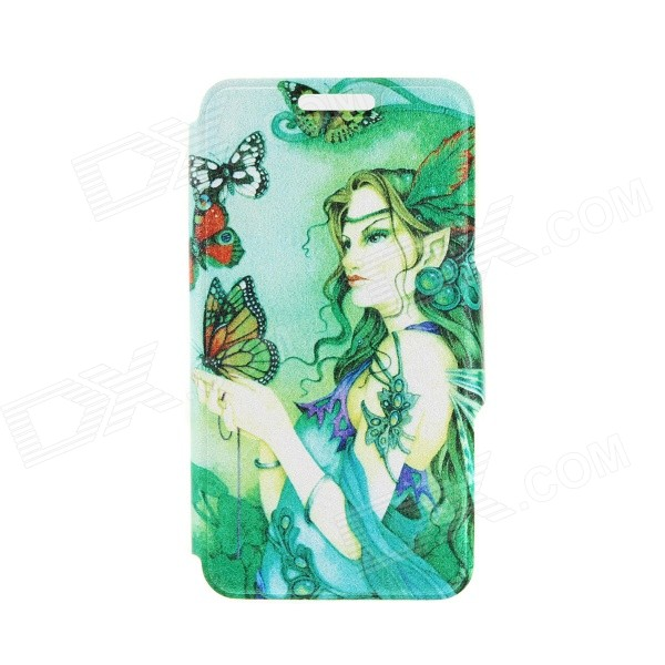 Kinston KST91753 Butterfly & Goddess Patterned PU Leather Full Body Case for 4.7 IPHONE 6 - Green butterfly bling diamond case