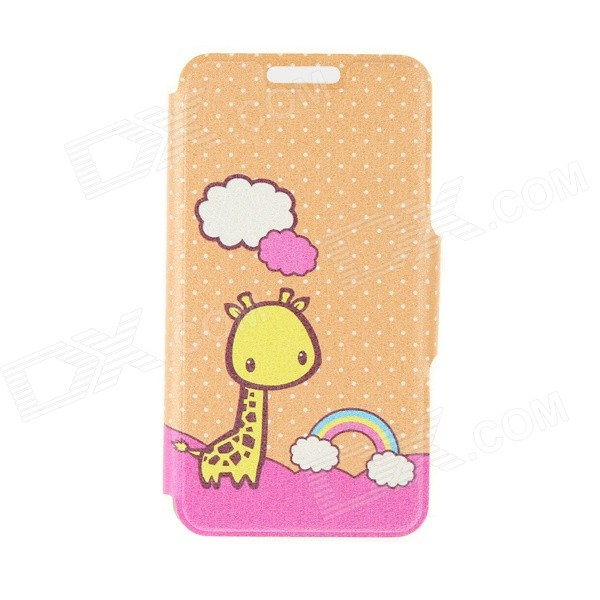 Kinston Rainbow Giraffe Pattern PU Leather Full Body Case with Stand for IPHONE 6 4.7 - Orange