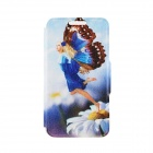 "Kinston Butterfly Fairy Pattern PU Leather Full Body Case w/ Stand for IPHONE 6 4.7"" - White + Blue"