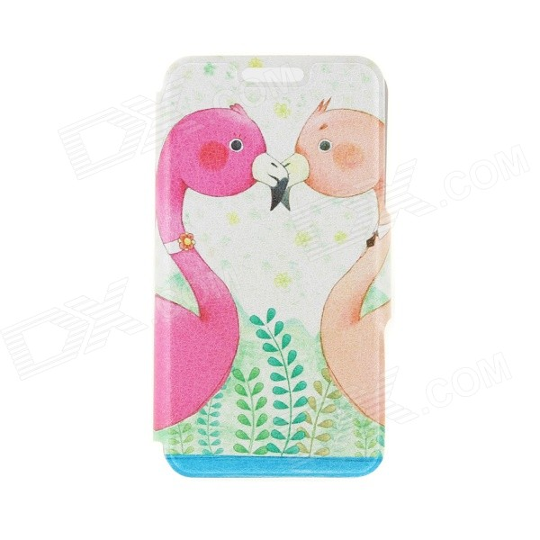 Kinston Flamingo Love Pattern PU Leather Full Body Case with Stand for IPHONE 6 4.7 - Pink + Orange