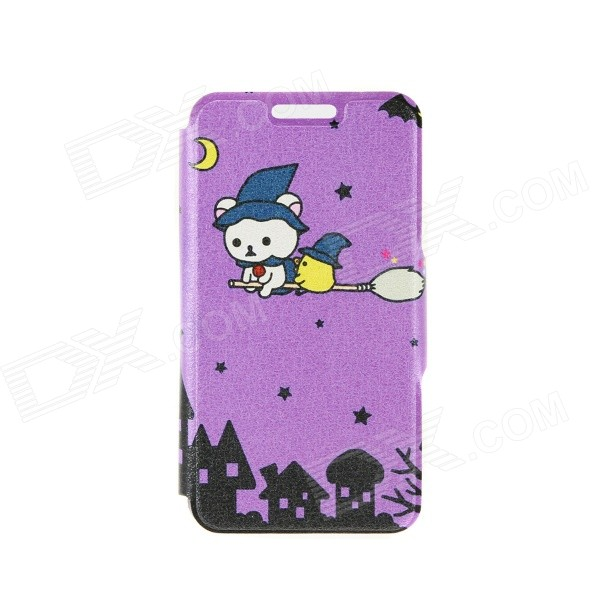 Kinston Cartoon Witches Pattern PU Leather Full Body Case with Stand for IPHONE 6 4.7 - Purple kinston i love you patterned pu leather full body case w stand for motorola moto g black red