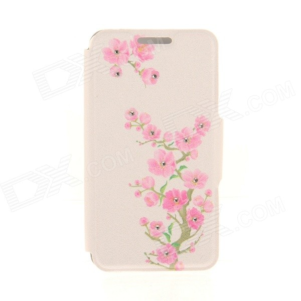 Kinston Flower Patterned PU + Plastic Protective Case w/ Stand + Card Slot for 4.7 IPHONE 6 - Pink flower show protective pu leather plastic case w stand for iphone 5 silver