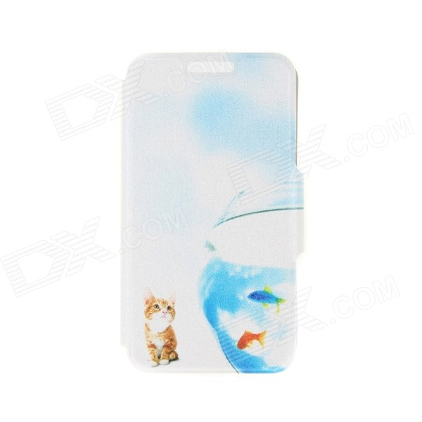 Kinston Cat & Fish Pattern PU Leather Full Body Case with Stand for IPHONE 6 4.7 - Blue + Yellow kinston kst91787 seal in water pattern pu leather full body case w stand for 4 7 iphone 6 blue