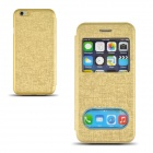 "Angibabe Protective Flip-Open PU Case Cover w/ Dual Display Window for 4.7"" IPHONE 6 - Golden"