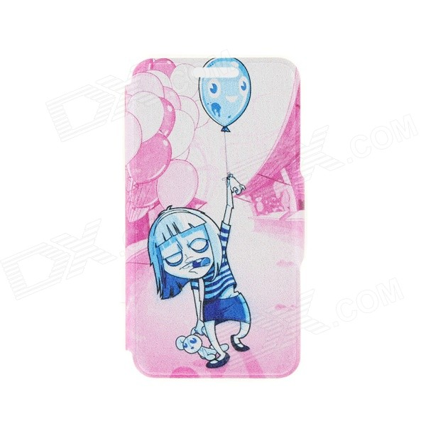 Kinston Teenage Terror Pattern PU Leather Full Body Case with Stand for IPHONE 6 4.7 - Blue + Pink kinston kst91787 seal in water pattern pu leather full body case w stand for 4 7 iphone 6 blue