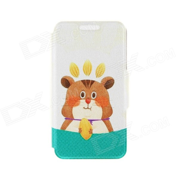 Kinston Squirrel Nut Pattern PU Leather Full Body Case with Stand for IPHONE 6 4.7 - Blue + Yellow kinston gentleman pattern pu leather full body case with stand for iphone 6 4 7 brown white