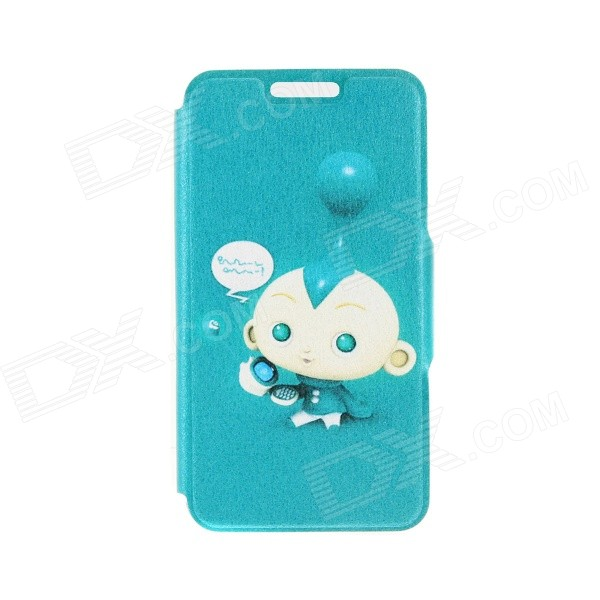 Kinston Cute Baby Pattern PU Leather Full Body Case with Stand for IPHONE 6 4.7 - Blue + White kinston kst91787 seal in water pattern pu leather full body case w stand for 4 7 iphone 6 blue