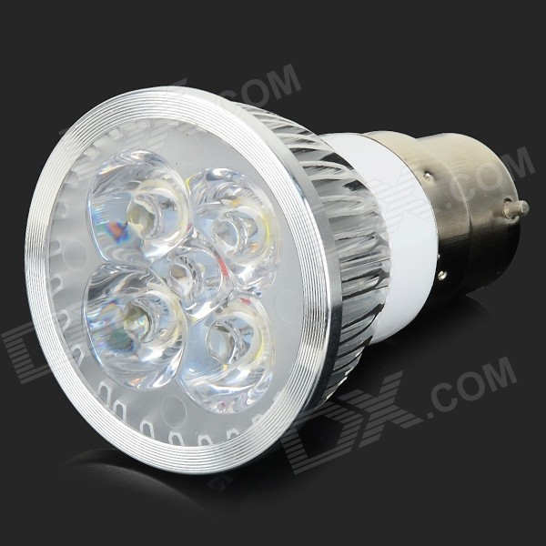 JRLED B22 4W 360lm 4-LED White Spotlight Lamp - Silver + White (AC 220V) jrled gu10 5w 330lm 6500k white light led spotlight lamp silver white ac 85 265v 5pcs