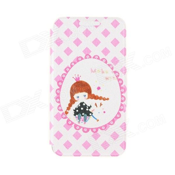 Kinston Trojan Girls Pattern PU Leather Full Body Case with Stand for IPHONE 6 4.7 - Pink + Yellow
