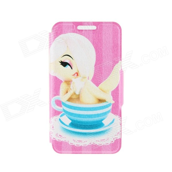 Kinston Bathing Girl Pattern PU Leather Full Body Case with Stand for IPHONE 6 4.7 - Blue + Yellow
