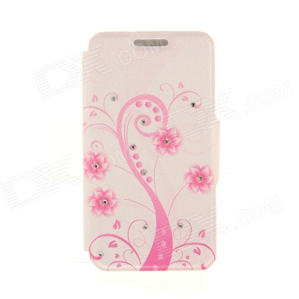 Kinston Pink Art Tree Pattern PU Leather Case for IPHONE 6 4.7 - Pink + White kinston flowers butterfly pattern pu plastic case w stand for iphone 6 plus multicolored