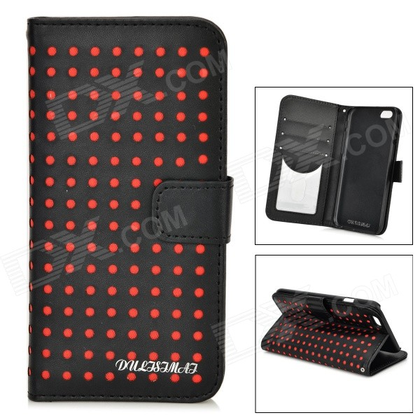 DULISIMAI Polka Dot Pattern Protective PU + PC Case w/ Stand for IPHONE 6 4.7 - Black + Red grid pattern protective pu case w stand for iphone 6 4 7 red white