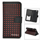 "DULISIMAI Polka Dot Pattern Protective PU + PC Case w/ Stand for IPHONE 6 4.7"" - Black + Red"
