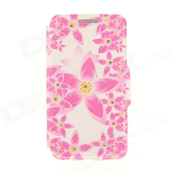 Kinston Pink Lotus Pattern PU Leather Case for IPHONE 6 4.7 - Pink + Yellow kinston flowers butterfly pattern pu plastic case w stand for iphone 6 plus multicolored