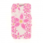 "Kinston Pink Lotus Pattern PU Leather Case for IPHONE 6 4.7"" - Pink + Yellow"