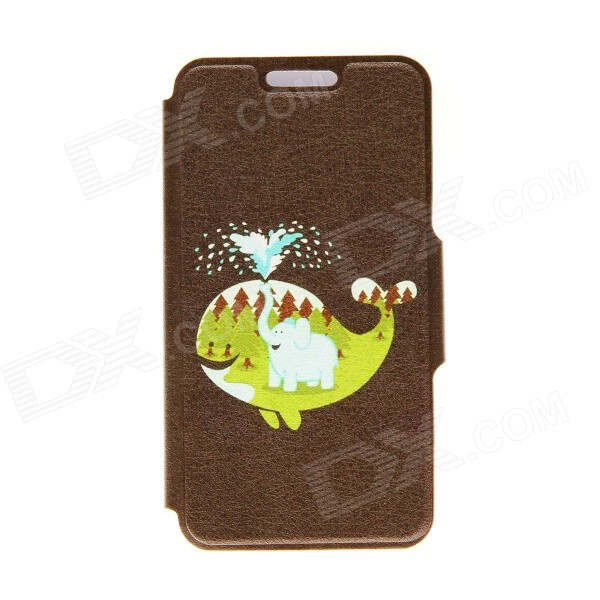 "Kinston Perfect Match Pattern PU Leather Full Body Case with Stand for IPHONE 6 4.7"" - Brown + Green"