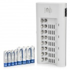 BTY 808A 8-Slot AA / AAA Battery Charger + 1000mAh AA + 500mAh AAA Batteries Set - Silver + Grey