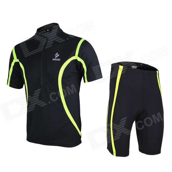ARSUXEO 130019 Men's Breathable Quick-Dry Short Cycling Jersey Top + Pants Set - Black (L) arsuxeo cycling short pants