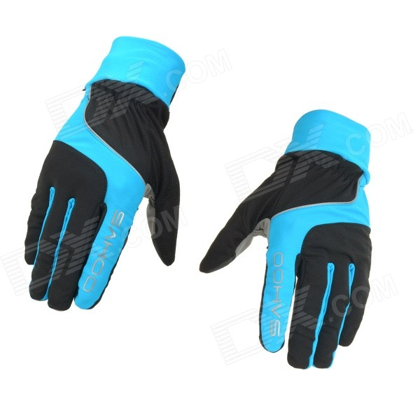 SAHOO 42890 Breathable Touch Screen Full-Finger Cycling Gloves - Black + Blue (XL / Pair)