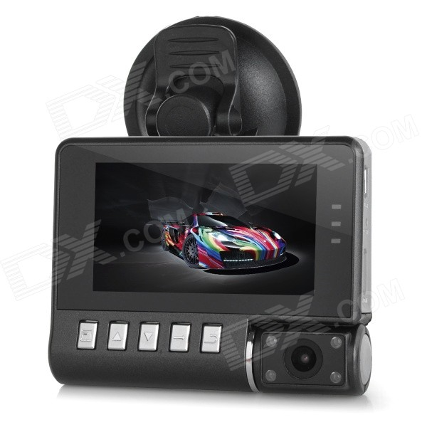 "E1000 Multifunctional 2.5"" TFT CMOS 180' Wide-Angle Night Vision HD Rotary Car DVR Camcorder - Black"