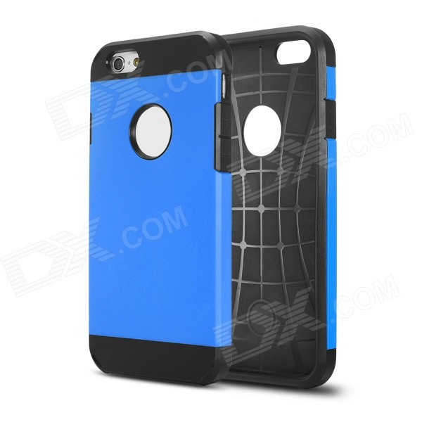 IPY-i601 2 In 1 Design TPU + Plastic Case for 4.7'' IPHONE 6 - Black + Blue 2 in 1 protective pc tpu back case for iphone 6 4 7 black blue