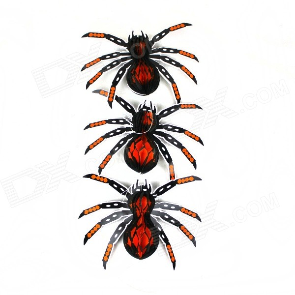 Halloween Paper Spider Ceiling / Wall Hanging Decoration - Orange + Black (3 PCS)