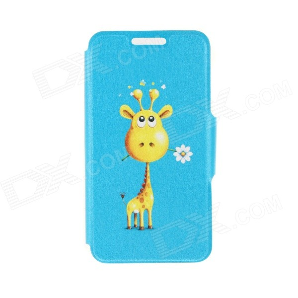 Kinston Giraffe Giving Flower Pattern PU Leather Full Body Case w/ Stand for 4.7 IPHONE 6 - Blue