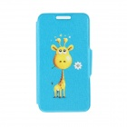"Kinston Giraffe Giving Flower Pattern PU Leather Full Body Case w/ Stand for 4.7"" IPHONE 6 - Blue"