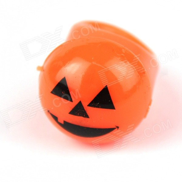 Halloween Pumpkin Smile Style Silicone Ring w/ LED Light - Orange + Black