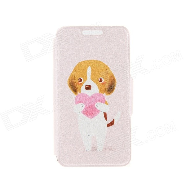 Kinston the Dog & Heart Pattern PU Leather + Plastic Flip Open Case w/ Stand for IPHONE 6 4.7 kinston music girl pattern pu plastic flip open case w stand card slot for iphone 6 plus
