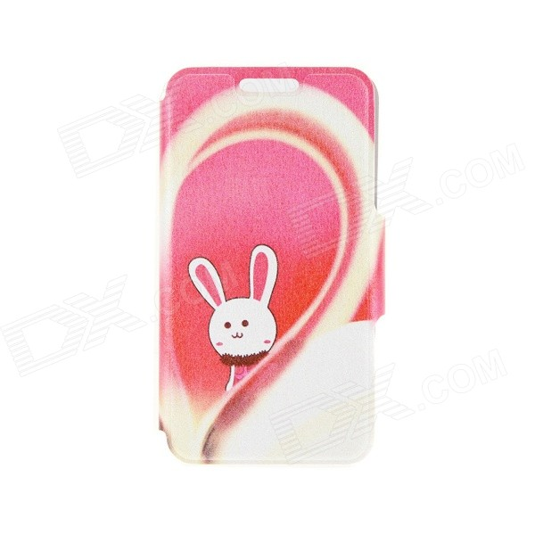 Kinston Love & Rabbit Pattern PU Leather + Plastic Flip Open Case w/ Stand for IPHONE 6 4.7 kinston kst92535 silk pattern pu plastic case w stand for iphone 6 plus white