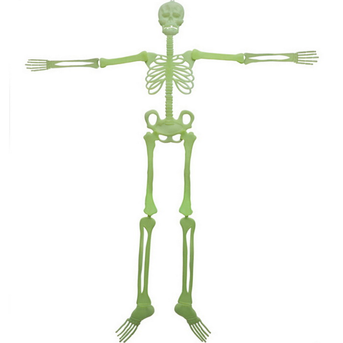 Halloween Glow-in-the-Dark PVC Skeleton Bones Decoration - White