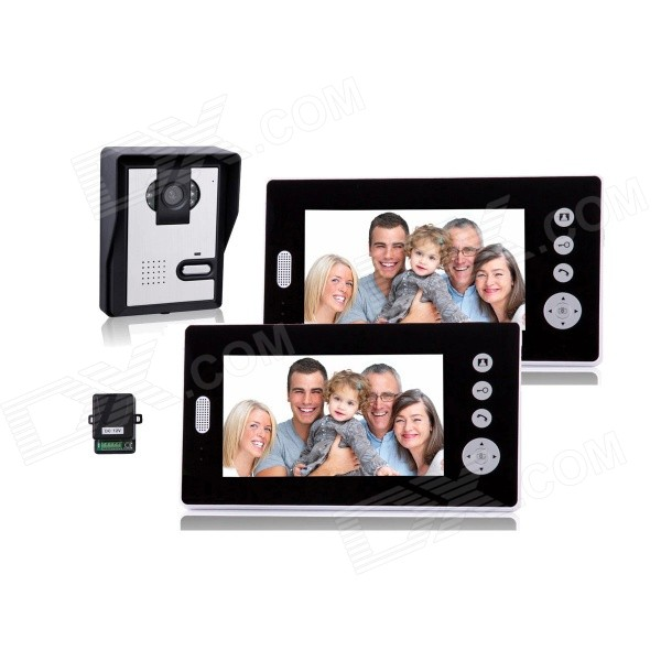 купить 7 Inch Wireless Video Door Phone w/ 1 Night Vision Camera + 2 Monitors - Black недорого